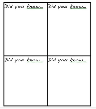 Share Your Knowledge Cards: Nonfiction Reader's Response
