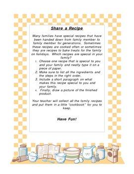 Share a Recipe Class Cookbook Project
