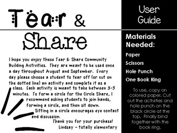 Tear and Share Community Building Activities August-September Edition