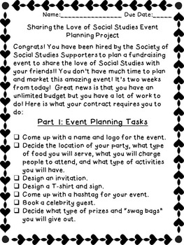 Share the Love of Social Studies Full Event Planning Simulation Project