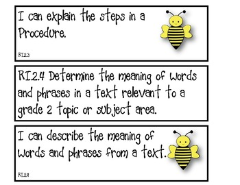 Shareable Common Core Standards for Second Grade Bee theme