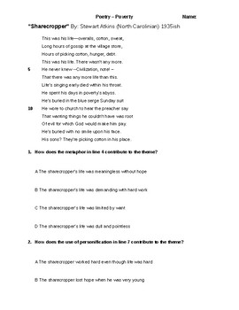 Sharecropper Poem Literacy Questions