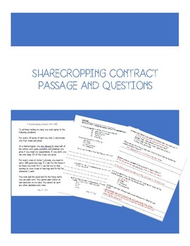 Sharecropping Contract Reading and Questions