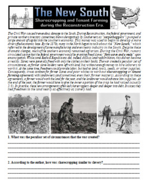 Sharecropping and Tenant Farming in the New South
