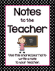 Shared Class Journal Cover - Notes to the Teacher (Female) - Writing {FREEBIE}