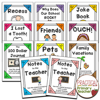 Shared Class Journal Cover Pages -Writing, Literacy Stations or Centers