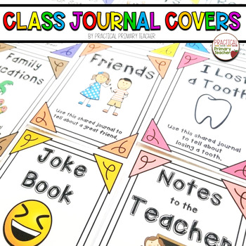 *Shared Class Journals Cover Pages -Writing, Literacy Stations or Centers
