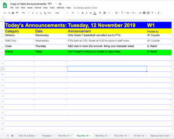 Shared Google Sheet for Daily Annoucements