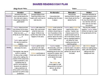 Shared Reading 5 day plan