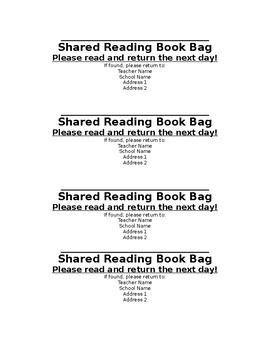 Shared Reading Book Bag Labels
