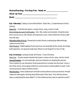 Shared Reading Five Day Lesson Plan Template By Kimberly Au TpT - Lesson plan template australia