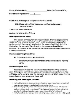 Shared Reading Lesson 5