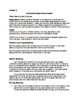 Interactive Read Aloud Lesson Bundle - Owen, by Kevin Henkes