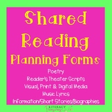Shared Reading Planning Tools & Student Think Sheets