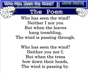 Shared Reading Poetry: Who Has Seen the Wind? (SMARTboard, Gr 1-2)