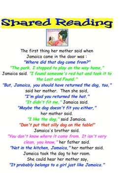 Shared Reading Poster Chart Sign Printable Jamaica's Find