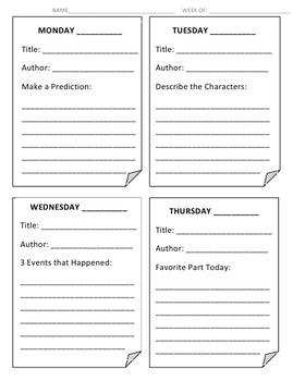 Shared Reading/ Read Aloud Response Sheet
