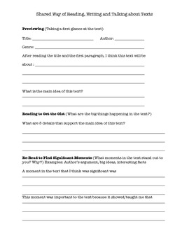 Shared Reading Template- Fiction/Non Fiction/Poetry- Common Core Aligned