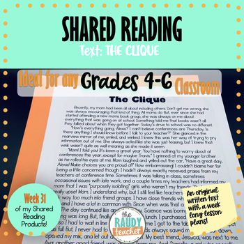 Shared Reading Texts and Lessons: Week 31