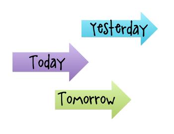Calendar Arrows - Today, Tomorrow, Yesterday