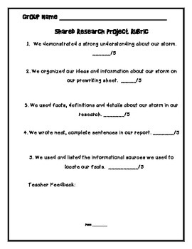 Shared Research Storm Report, graphic organizer, prewriting, and rubric
