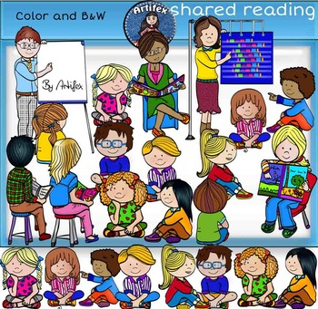 Shared reading clip art -Color and B&W- 38 items!