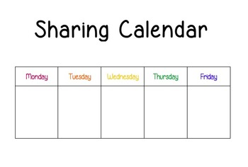 Sharing Calendar for Morning Meeting - Responsive Classroom