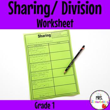 Sharing (Division) Word Problems Worksheet {Grade 1}