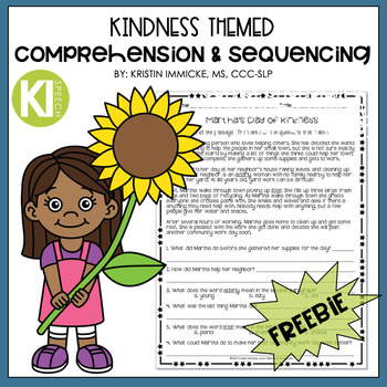 Kindness Themed Comprehension & Sequencing Freebie