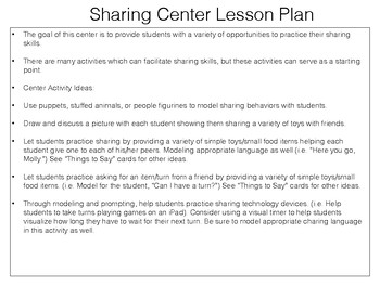 Sharing Lesson Plan and Activities