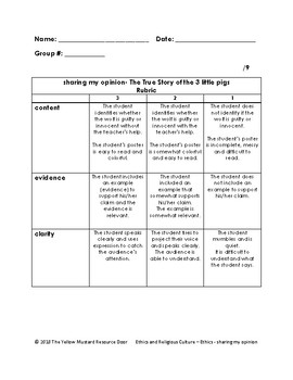Sharing My Opinion (The True Story of The Three Little Pigs)- rubric