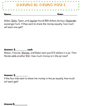 Sharing is Caring: Division Word Problem Worksheet