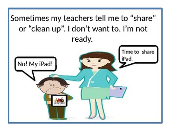 Sharing or Cleaning up. Following Directions Social Story.