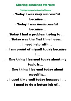 Sharing sentence starters