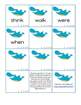 Shark 1st Grade DOLCH Word Flashcards