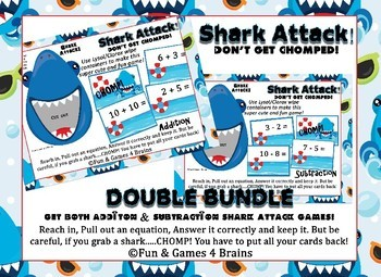 Shark Attack Double Bundle!!! Addition & Subtraction facts Game.