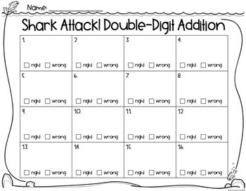 Shark Attack: Double Digit Addition