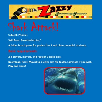 Shark Attack File Folder Game for Phonics /ar/ R-controlled