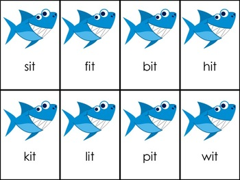 Shark Attack Mixed Vowel Word Families: -at, -ot, & -it