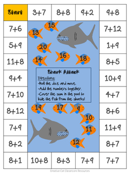 Shark Attack Number & Addition Games