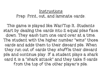 Shark Attack: Number Comparison Card Game