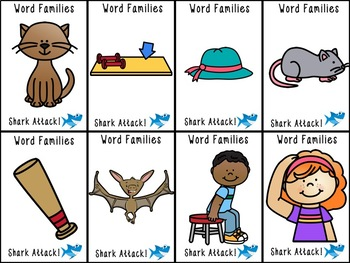 Shark Attack Same Vowel Word Families (Words and Pictures) -at