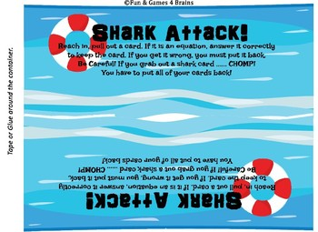Shark Attack!!! Subtraction facts Game.
