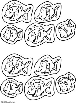 Shark Bag Puppet with 5 Little Fish Coloring sheet