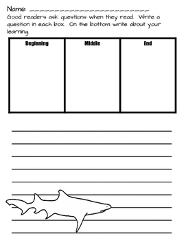 Shark Book Companions: Fiction and Nonfiction Response Sheets