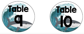 Shark Classroom Theme Table Numbers