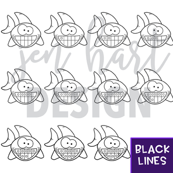 Shark Clip Art - Shark Ten Frames {jen hart Clip Art}
