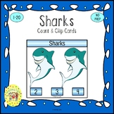 Sharks Count and Clip Task Cards