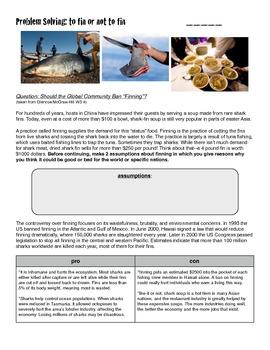 Shark Finning Problem Solving Activity