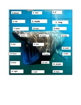 Shark First Grade Sight Word Puzzle